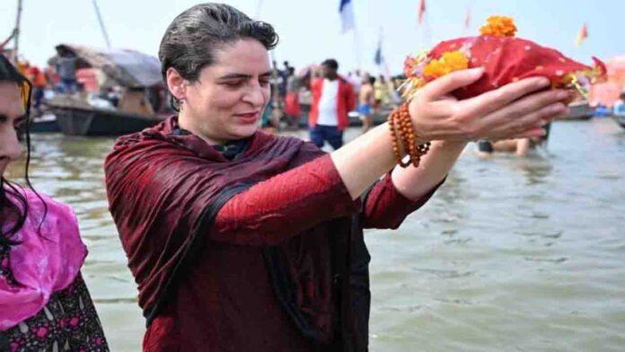 Priyanka Gandhi takes blessed dunk at Sangam in Prayagraj