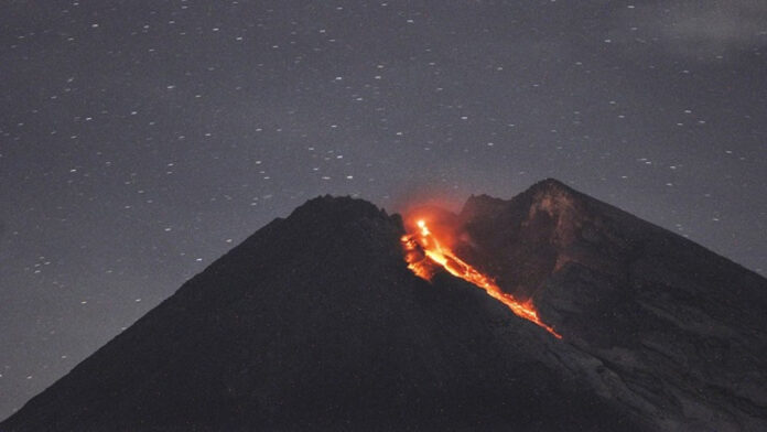 Indonesia's Mount Merapi spring of gushing lava ejects twice