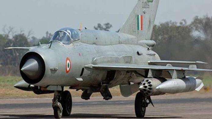 MiG-21 Bison aeroplane crashes during take-off